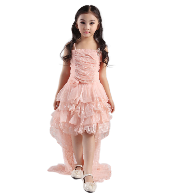 Free Shipping Formal Kids Dresses Princess Peach Girl Party Dress For 10 Years 2019 New Arrival Sheath Child Pageant Gowns Lace in Dresses from Mother Kids