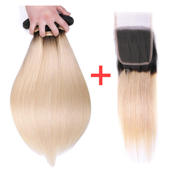 Smoora Ombre Straight Hair Bundles With Closure 4*4 Brazilian Human Hair Bundles With Closure T1B/613 Blonde Non Remy Hair Weft