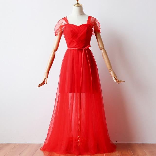 Cor vermelha Revestimento Interno Curto Vestidos de Dama de honra Vestidos De Mulher para a Festa de Casamento e Vestido Maxi
