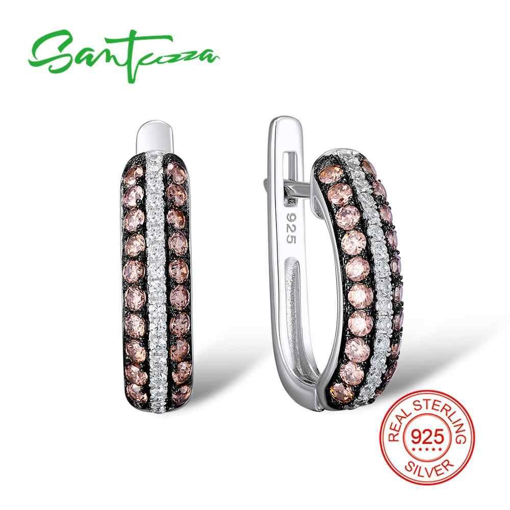 Santuzza เงินชุดเครื่องประดับเจ้าสาวงานแต่งงานช็อกโกแลตหิน CZ แหวนต่างหูชุด 925 เงินสเตอร์ลิงแฟชั่นชุดเครื่องประดับ