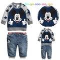 Atacado-conjuntos de roupas de outono menino das Crianças hoodies Mickey + calça jeans terno 2 Peça Definir 5S/l