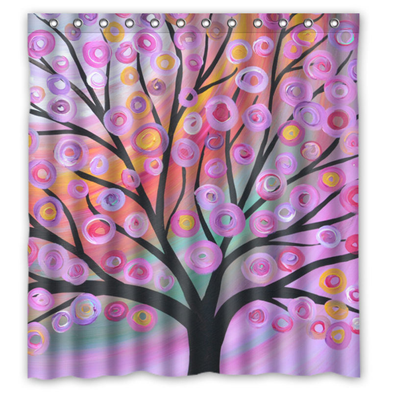 Pink Green Gold Tree Painting Customized Design Waterproof Shower Curtain Bathroom Curtains 36x72 48x72 60x72 66x 72 Inches In From Home