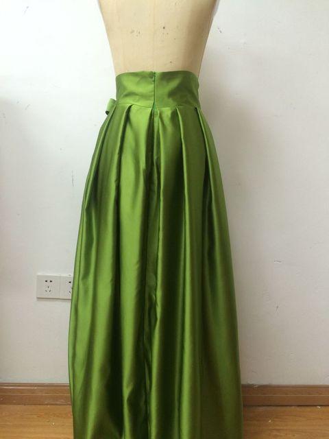 Noble Ivory długie spódnice linia plisowana Chic niewidoczny zamek błyskawiczny długość podłogi długie spódnice 2016 Custom Made formalne Party długie spódnice