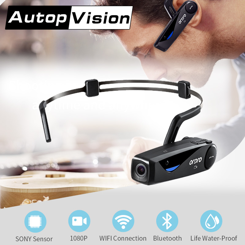 LC-0816GB 1080P Full HD Action Mini Camera Bone Conduction Bluetooth Headset Cycling DV Video Recorder Camcorders jewelry making