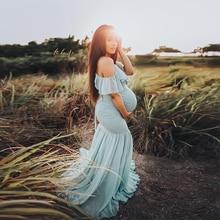 Robe Maxi de maternité pour femmes, grande taille, à volants, jolie robe de maternité Sexy, accessoires de photographie, 2019
