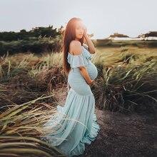 사진 촬영을위한 Ruffles Maxi 출산 가운 귀여운 섹시한 출산 드레스 사진 소품 2019 여성 임신 복장 플러스 크기