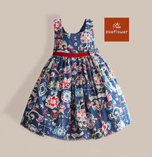 Amazing summer A Line dress Sleeveless Floral Print girl party dress children clothing for 3-7Y vestidos infantis