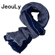 Jeouly New Arrival navy Bufandas Mens Scarf Fashion Brand Striped Scarf Spring Autumn Warm Soft Shawls Cotton Tassel Scarves