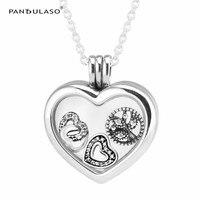 Pandulaso Heart Floating Locket Necklace Pendants With Petites Heart Interlocked Hearts Family Tree 925 Sterling Silver