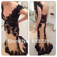 2014 New Sexy Deep V Neck Cap Sleeve Mermaid Prom Dresses Long Champagne With Black Lace Appliques Backless Evening Gowns