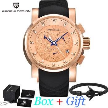 New PAGANI DESING Top Quartz Luxury Waterproof Sport Watch Men Rose Gold Dial Silicone Black Strap Chronograph Date reloj hombre
