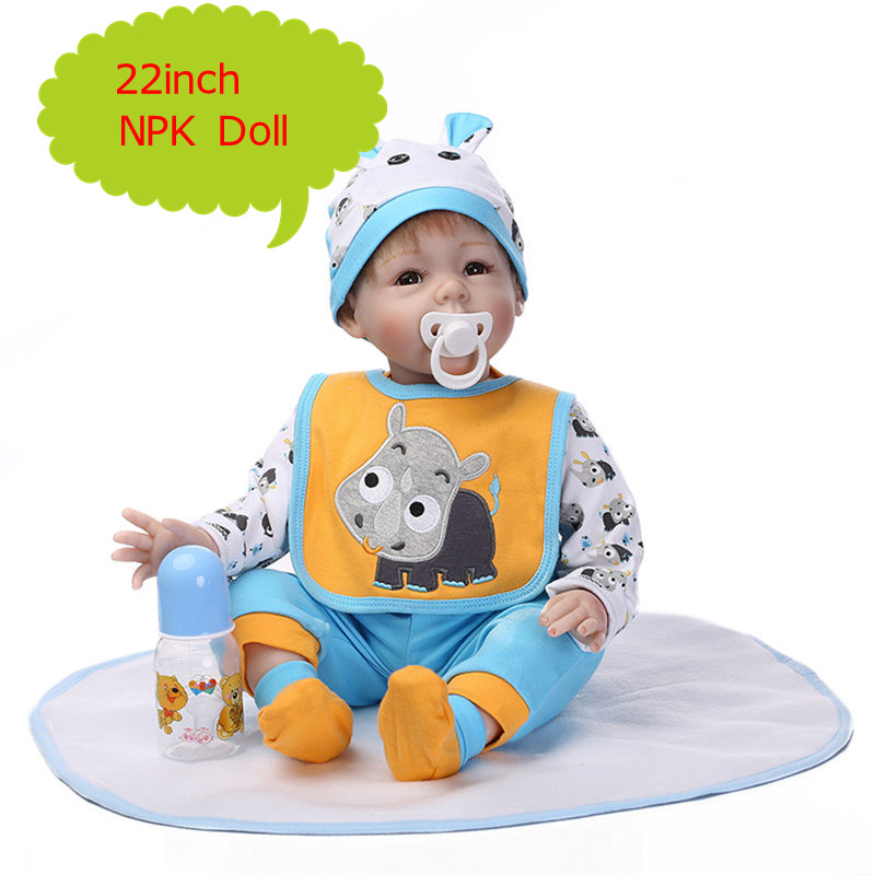 NPK 55cm 22inch Silicone Reborn Baby Doll Kids Doll Toys With 22inch Doll Real Cotton Clothes Hot Welcome Birthday Gift BonecaNPK 55cm 22inch Silicone Reborn Baby Doll Kids Doll Toys With 22inch Doll Real Cotton Clothes Hot Welcome Birthday Gift Boneca