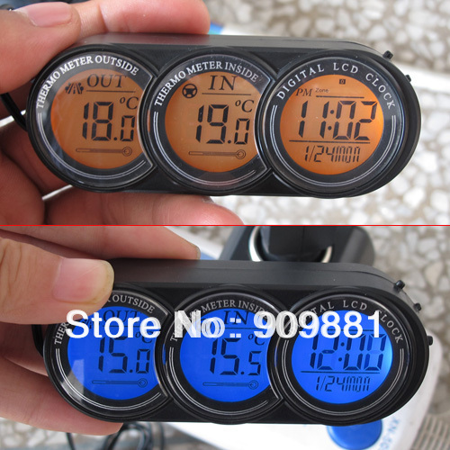 Brand New LCD Screen Car Inside Outside Thermometer Vehicle Temperature Clock Calendar Voltage Monitor Blue/Orange Backlight