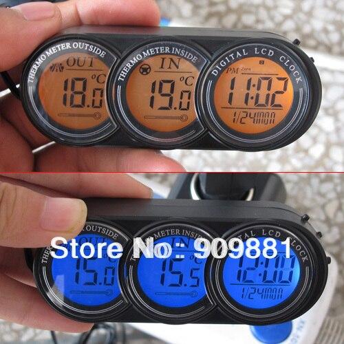 Marque Nouvel Écran LCD De Voiture Intérieur Extérieur Thermomètre Véhicule Température Horloge Calendrier Tension Moniteur Bleu/Orange Rétro-Éclairage