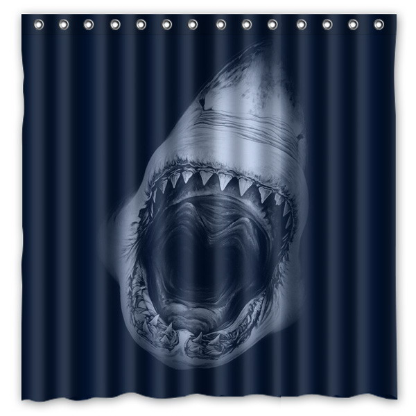 Jaws Shark Shower Curtain Waterproof Fabric For The Bathroom Polyester Bath Screen Room Product 180x180cm In Curtains From Home