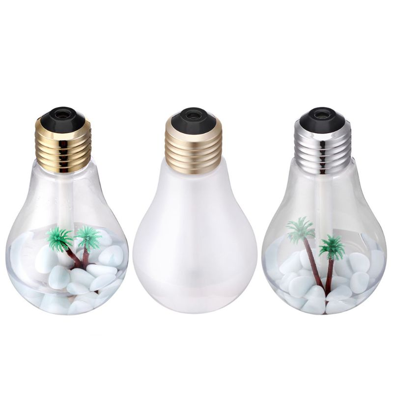 Free_on 1PC 400ml Bulb Air Humidifier Kit Micro-landscape Night Light Aroma Diffuser Mini Home office Air Purifier Humidifier ivyshion 1pc arotrerapy humidifier creative heart fireworks led night light air humidifier seven colors aroma diffuser for home