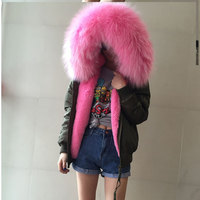 JZAYV Waterproof Bomber Jacket Big Raccoon Fur Hood Winter Jacket Women Parka Faux Fur Coat for Women Warm Thick Lining