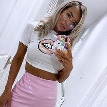 NiceMix 2019 female t-shirt harajuku lip printing crop tops short sleeves o-neck t shirt women casual summer camisa feminin