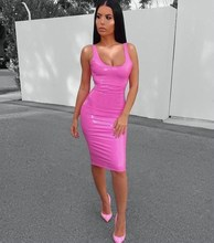 купить 2019 Summer Women Sleeveless O-Neck Bodycon Dress Streetwear Fashion Pu Leather Sexy Dress Slim Solid Knee-Length Club Dresses дешево