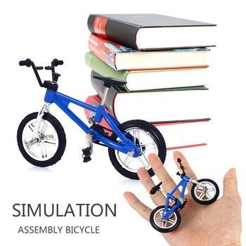 1 Juego de bicis de dedo para niños Mini bicicleta escritorio aleación bicicleta decoración colección interesante escritorio cultivar interés regalo interior