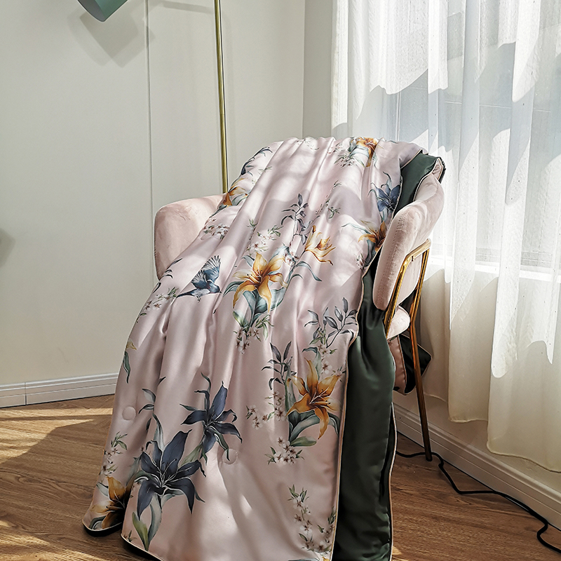 Nordic Quilt Blankets Soft tencel Comforter Bedding Quilts flowers Quilted Gray Air Conditioner Summer Quilts