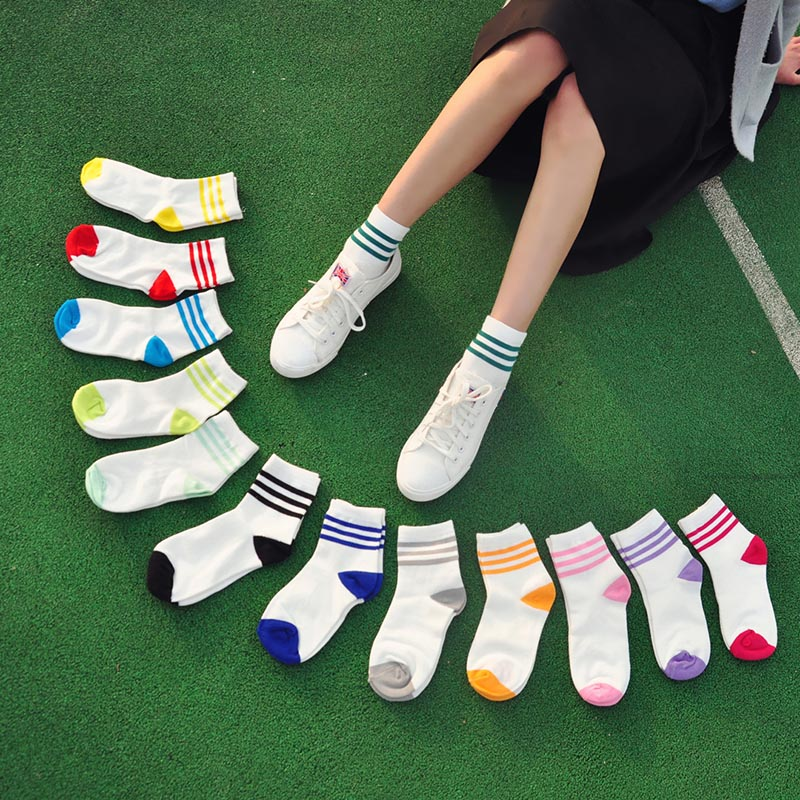 Ladies   Socks   For Girls College Student Cheap Solid Bars Woman   Socks   Fancy Design Bar Partner Splice Ankle Cotton Summer Sox