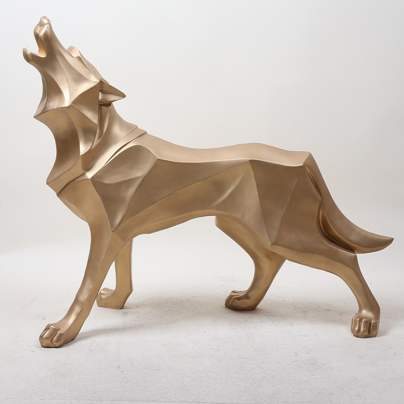 Nordic Abstract White Gold Wolf Sculpture Geometric Wolf Dog Statues Wildlife Animal Decor Ornament Home Decoration AccessoriesNordic Abstract White Gold Wolf Sculpture Geometric Wolf Dog Statues Wildlife Animal Decor Ornament Home Decoration Accessories