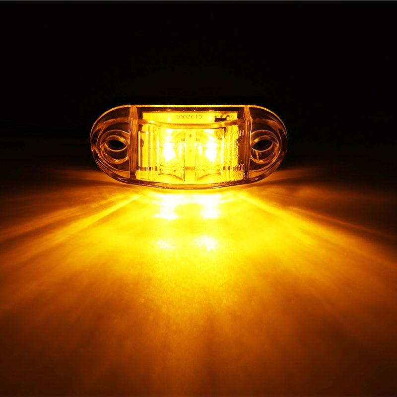 2Pcs 12V / 24V LED Side Marker Lights Car External Lights Warning Tail Light Auto Trailer Truck Lorry Lamps Amber color 3