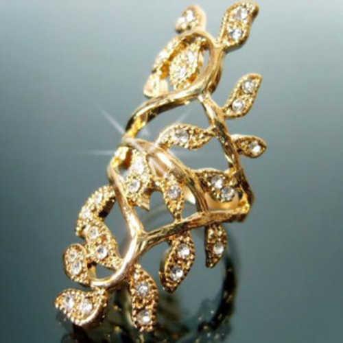 Bluelans Модные женские шикарные горный хрусталь полый лист сустава костяшки Кристалл кольцо Броня