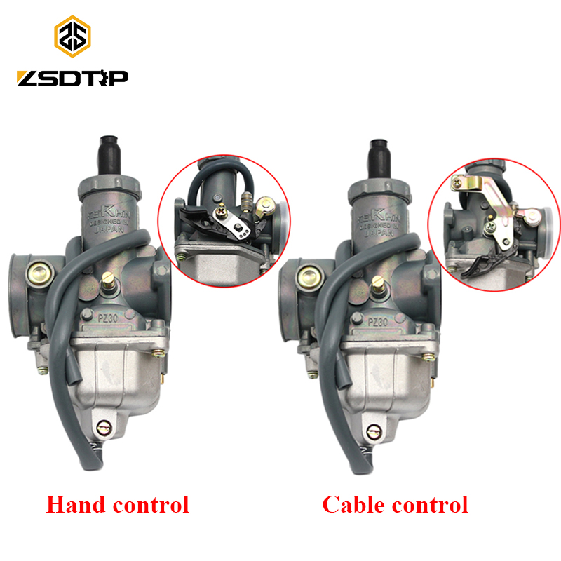 ZSDTRP PZ26/27/30mm Carburetor Motorcycle Pump Accelerator Carburetor 150 125 Dirt Bike ATV Hand/Cable Choke Lever Carbs