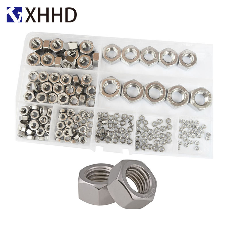 304 Stainless Steel DIN934 Hex Nut Metric Insert Threaded Hexagon Nuts Set Assortment Kit Box M2 M2.5 M3 M4 M6 M8 M10 M12304 Stainless Steel DIN934 Hex Nut Metric Insert Threaded Hexagon Nuts Set Assortment Kit Box M2 M2.5 M3 M4 M6 M8 M10 M12