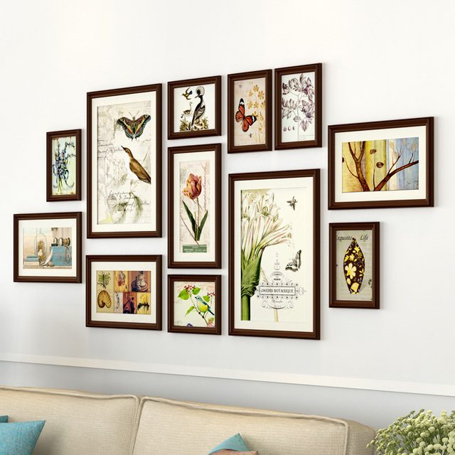 12 pcs Natural Plant Photo Frames Sets For Sofa Background Fresh Large Photo Frames For Picture Retro Frames For Family Picture