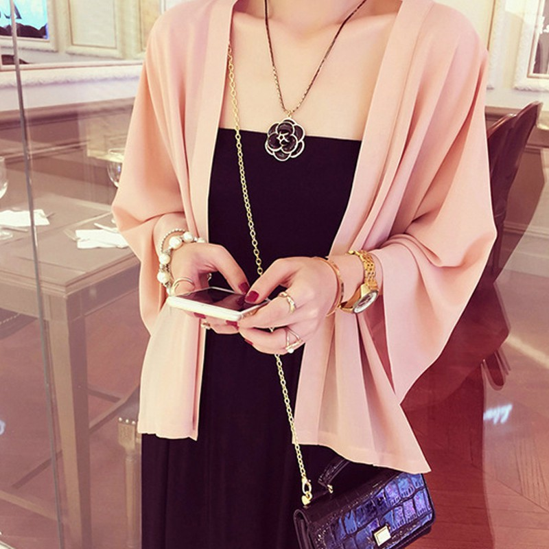 Chiffon Kimono Cardigan Casual 3/4 Batwing Sleeve Loose Black Women   Blouses     Shirts   Summer Women Tops Outerwear Top