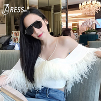 INDRESSME Sexy Off Shoulder Backless Women Cropped Top Fashion Solid Feathers Short Bodycon Women Tank Top