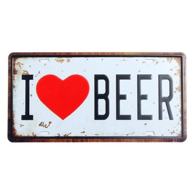 I Love Beer Vintage Metal Decorative License Plates For Car Bar Cafe Home Wall Decor Retro Iron Painting Art Poster Tools A826
