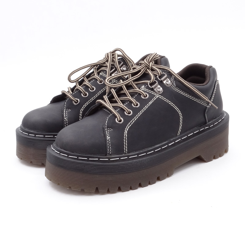 Printemps Nouveau Martin Casual 2018 Automne Creepers Chaussures Goth Plate Femmes Harajuku Black Cuir brown Richelieus Pu forme yellow Mode En r5Xaqwr