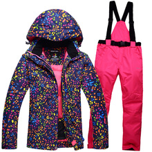 Winter woman ski suit outdoor sports ski jacket and ski pants suit Ms warm thick waterproof