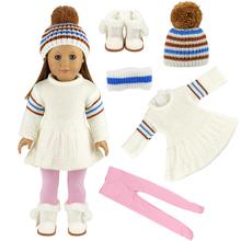 Cute Sweaters Clothes Outfits Dress Skirt Hat Gloves For 18 inch Our American Generation Girl Doll baby born doll accessories
