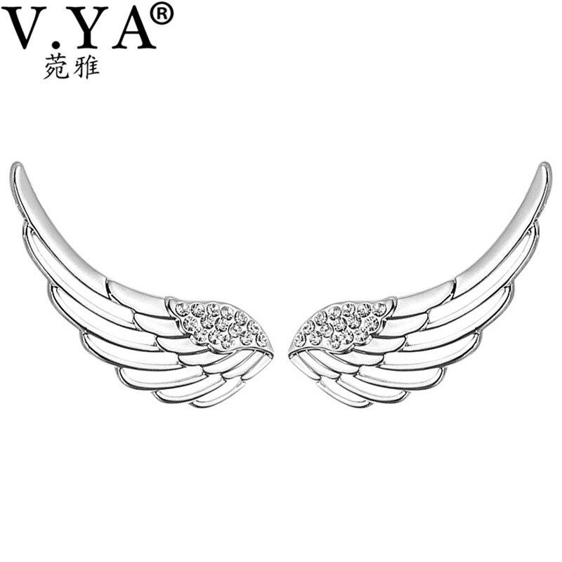 Trendy Style Bling Angle Wings Hoop earrings Women Wedding Party Jewelry 925 Sterling Silver Feather Wing Earrings Best Gifts