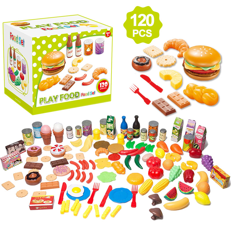 120PCS Kids Cutting Fruits Vegetables Pretend Play Kitchen Toys Miniature Safety Food Sets Educational Classic Toy for Children image