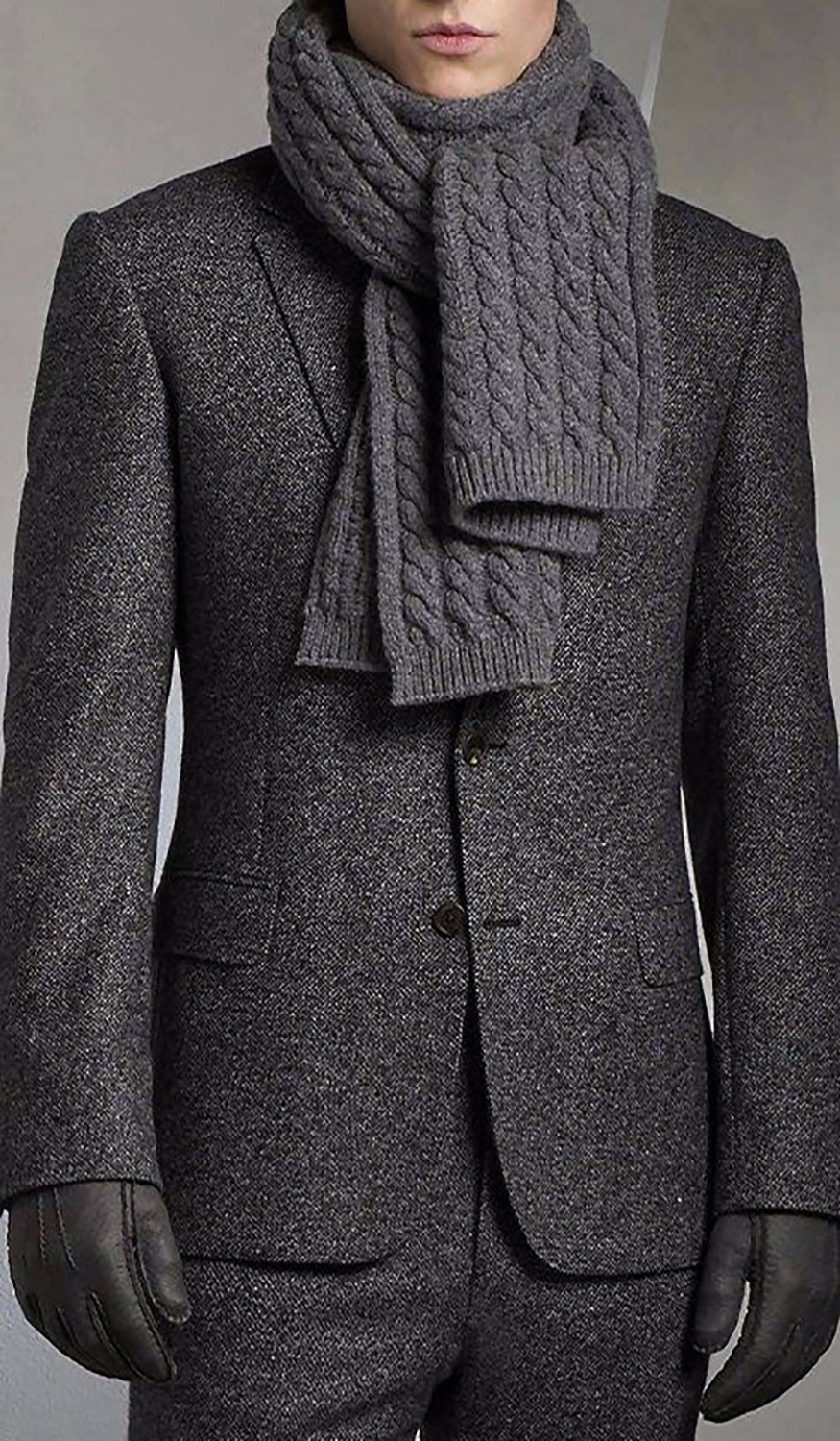 Charcoal Grey Brushed Wool Blend Suits For Winter Tailored Fit Warm Suits For WinterCustom Made