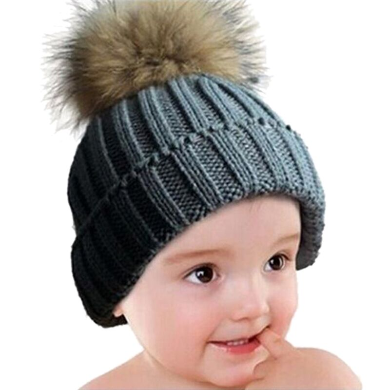 Warm Winter Caps 2017 Real Racoon Fur Pompom Hats For Kids Wool Knitted Beanies Baby Boys Girls Pom Pom Hats Skullies Gorro kids real fox fur pom poms hats child winter knitted beanies big pompom hats boys girls child warm caps good quality 1pc h029