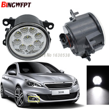 2pcs/lot High quality Angel Eyes LED Fog Lights 90mm White Yellow car styling For Peugeot 308 T9 / 308 SW 2013 2014 2015 2016