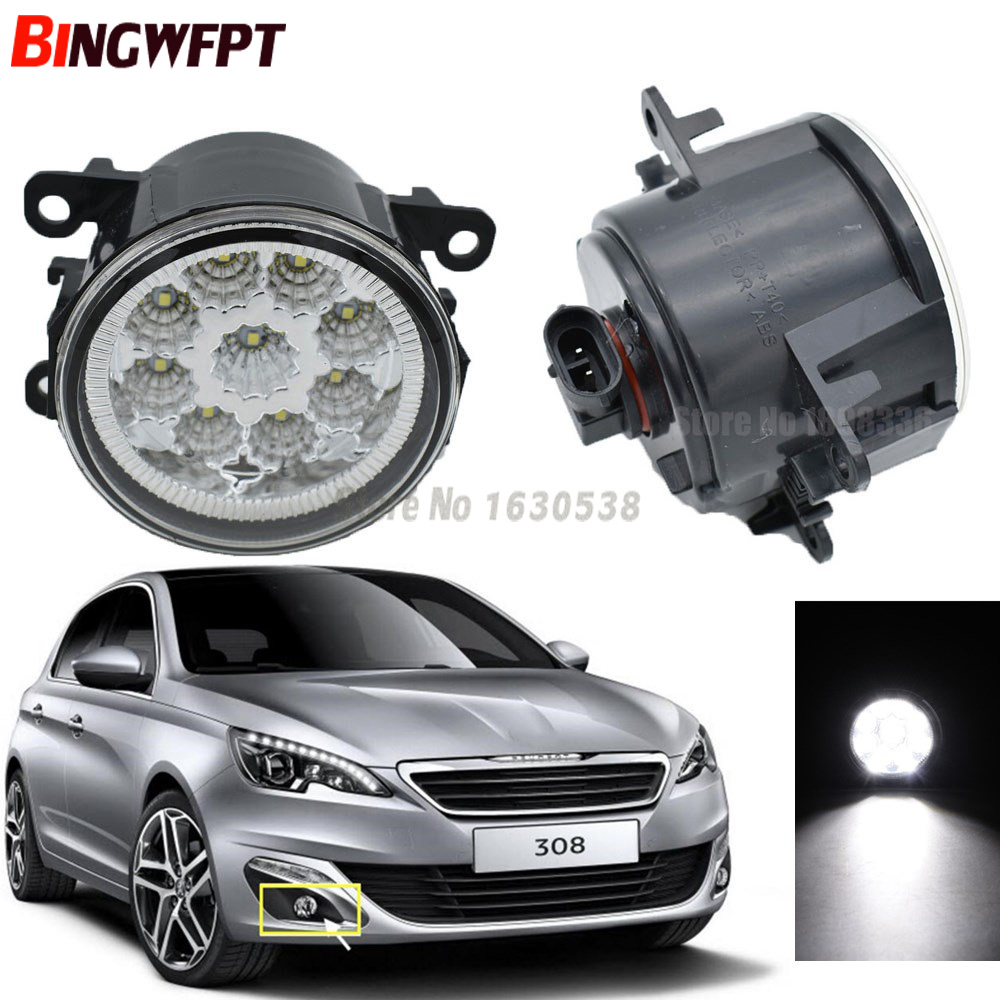 2pcs/lot High quality Angel Eyes LED Fog Lights 90mm White Yellow car styling For <font><b>Peugeot</b></font> <font><b>308</b></font> T9 / <font><b>308</b></font> <font><b>SW</b></font> 2013 2014 <font><b>2015</b></font> 2016 image