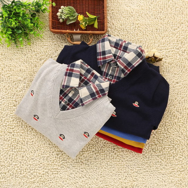 Fashion 2016 Boys Sweater Spring and Autumn Children's Casual Shirt Collar Sweaters Kid's Cotton Faux Two Piece Pullover Tops