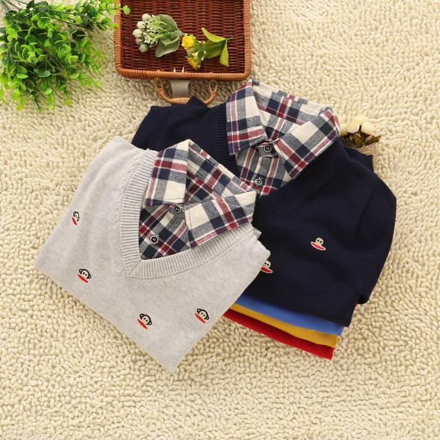 Moda 2016 Meninos Camisola Primavera e No Outono Colarinho da Camisa Ocasional Blusas de Algodão do Miúdo das Crianças Do Falso Duas Peças Pullover topos
