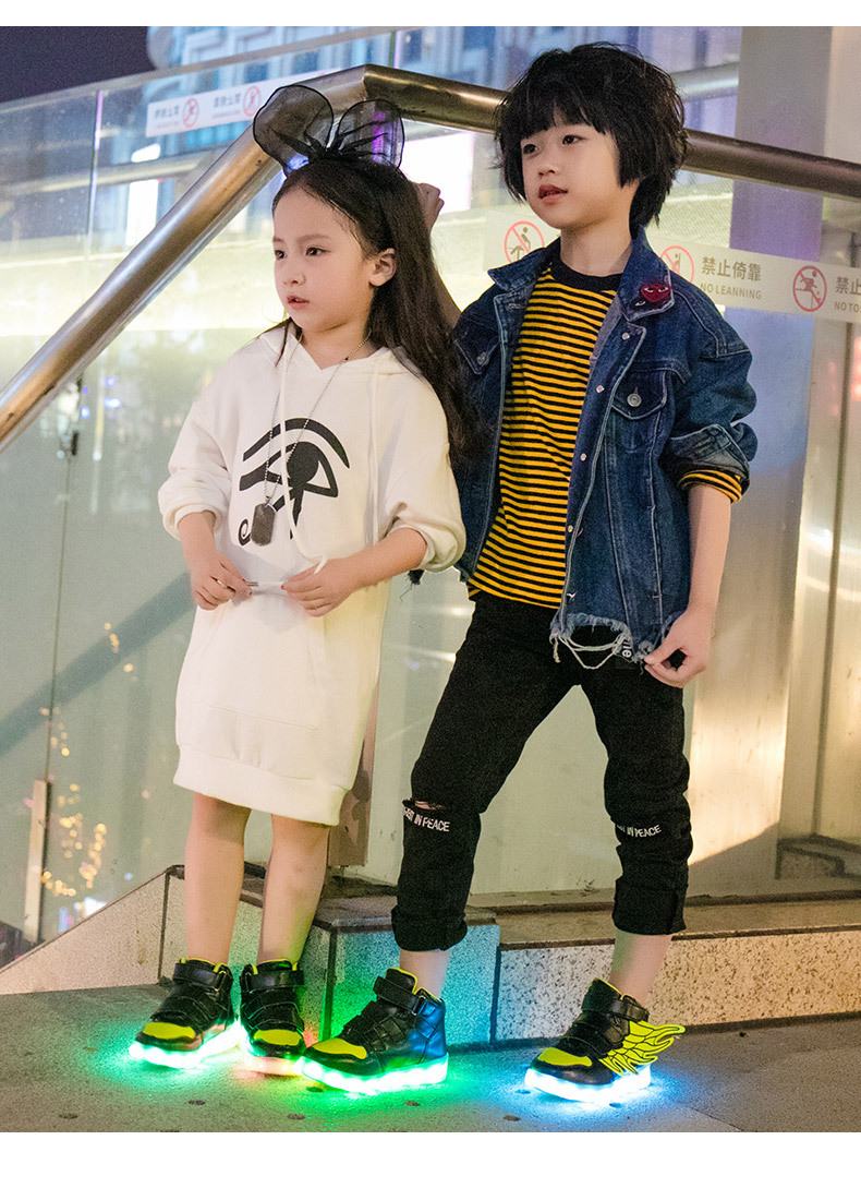 HTB1J0uleXOWBuNjy0Fiq6xFxVXaE - UncleJerry Kids Light up Shoes with wing Children Led Shoes Boys Girls Glowing Luminous Sneakers USB Charging Boy Fashion Shoes