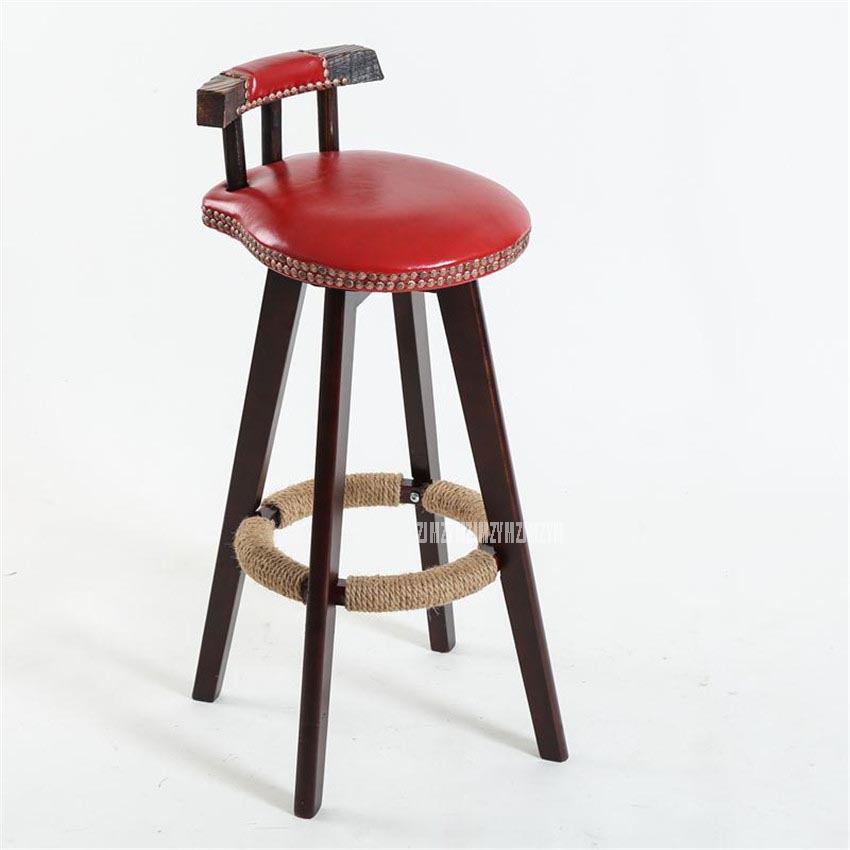 73cm Creative Modern Design Solid Wood Bar Chair PU Leather Soft Seat Cushion Low Backrest Coffee Counter Leisure High Footstool