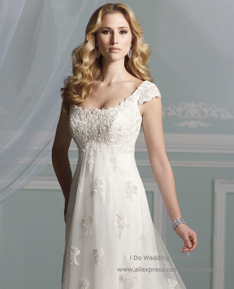 Lace Empire Waist A Line Floor Length Maternity Wedding Dress empire wedding dress
