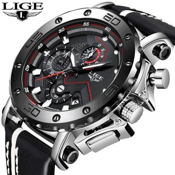Relogio LIGE Mens Watches Top Brand Luxury Men's Military Sports Watch Casual Leather Waterproof Quartz Watch Relogio Masculino brand ar8186 2015 relogio mascuulino